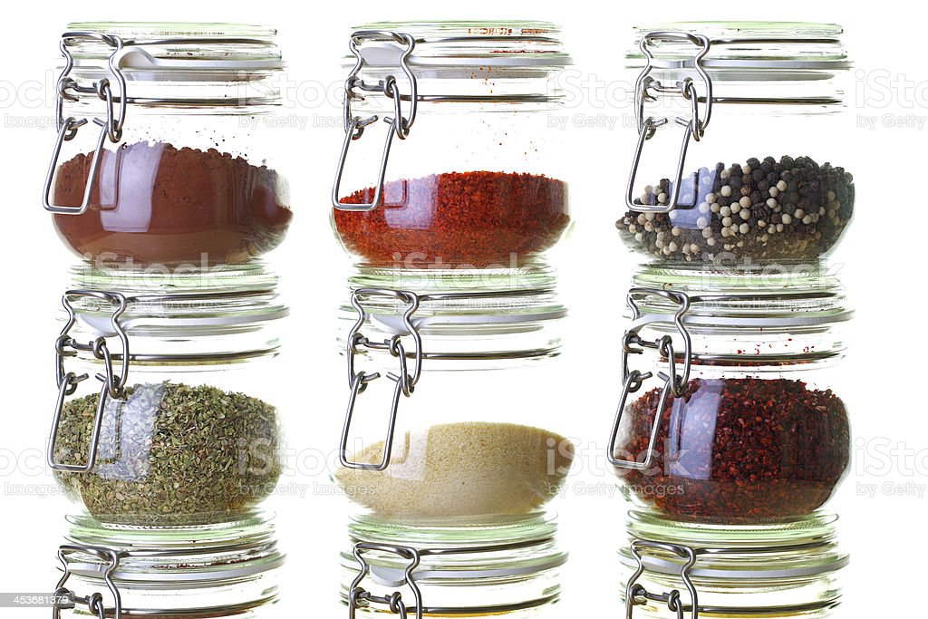 high key variety of spices royalty-free stock photo