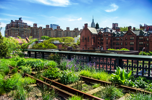 High Line. Urban public park on an historic freight rail line, New York City, Manhattan.