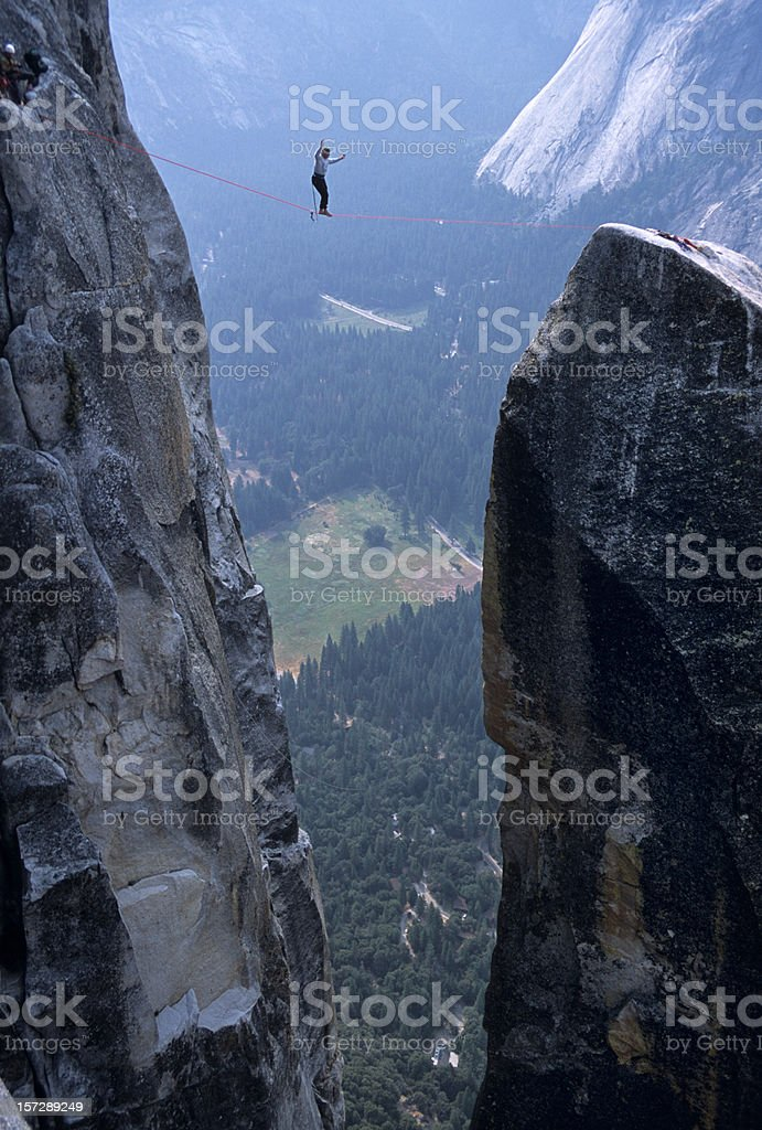 High Lining Over Yosemite Valley royalty-free stock photo