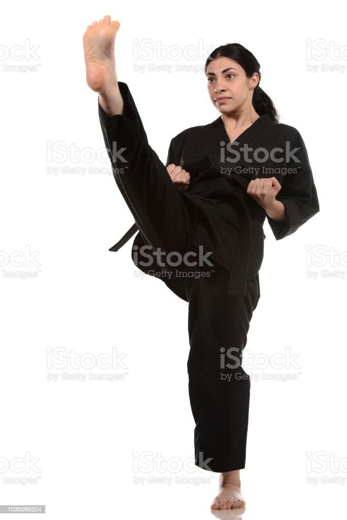 High Martial Arts Front Kick stock photo