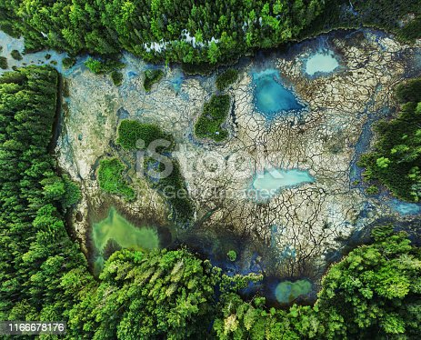 Aerial view of high mineral content wetland with dead moss.