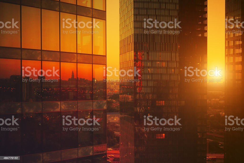 High modern skyscrapers at sunset stock photo
