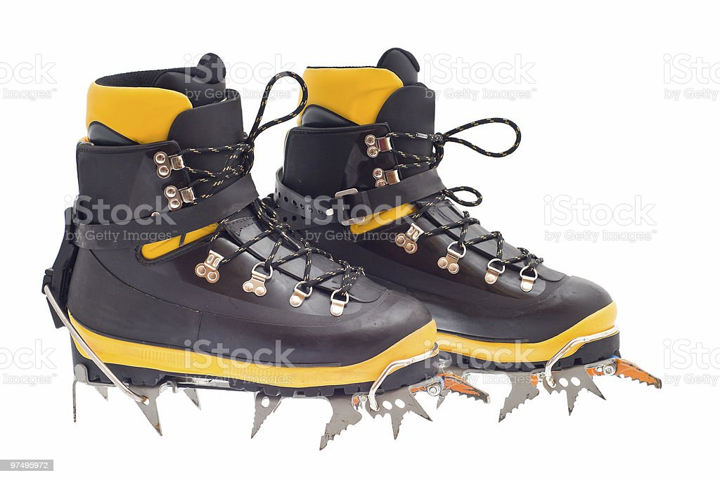 high mountain boots with crampons royalty-free stock photo