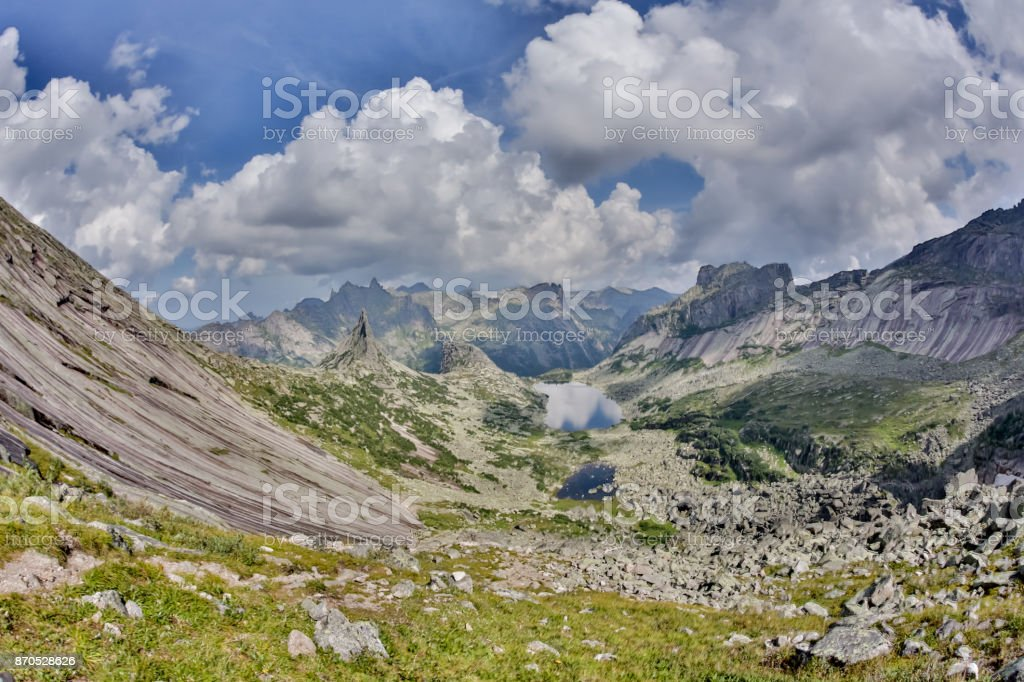 High mountain cliffs in the Ergaki national park, Russia stock photo