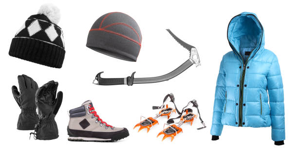 high mountain equipment - warm clothing stock photos and pictures