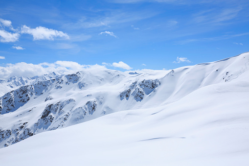 High mountain  landscape  At the top. Italian Alps  ski area. Ski resort Livigno. italy, Europe.