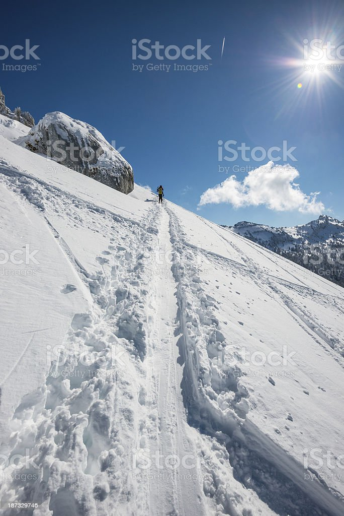 High Mountain Landscape with Alpinists royalty-free stock photo
