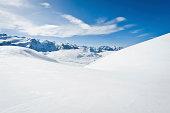 High mountain landscape with sun in the French Alps (La Grave, La Meije)