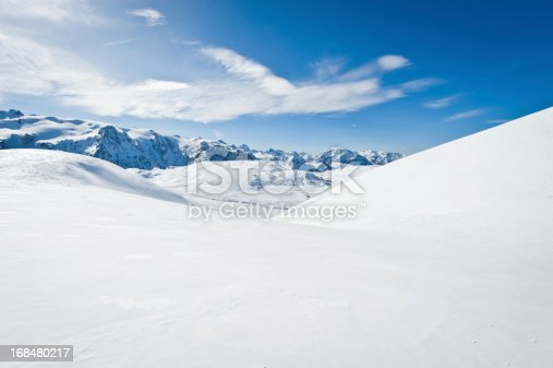 High mountain landscape with sun in the French Alps (La Grave, La Meije)