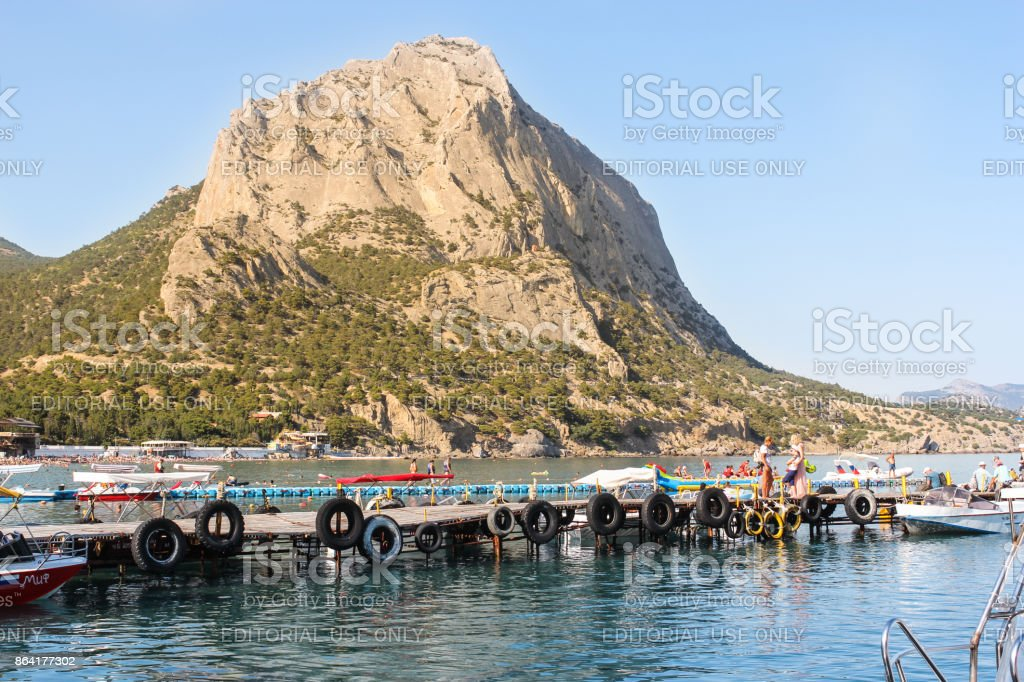 High mountain on the shore. royalty-free stock photo