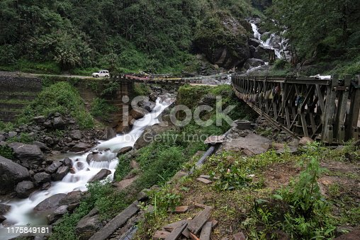High mountain passes and bridges on the way to Lachun, Sikkim, India