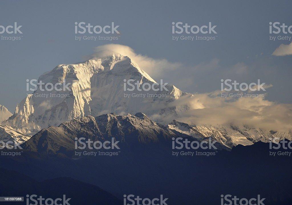 high mountain peak in Annapurna Region, Nepal royalty-free stock photo