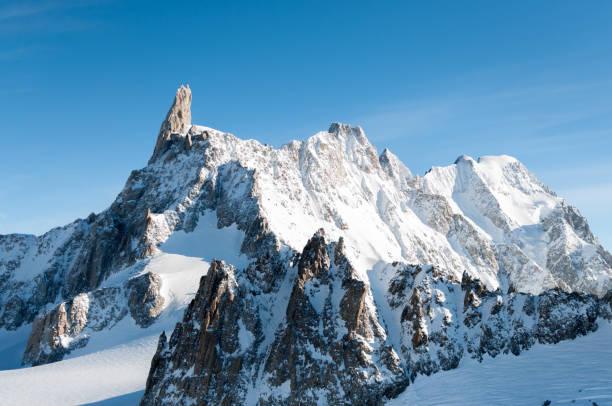 이탈리아/프랑스 알프스에서 높은 산 봉우리 - 몽블랑 뉴스 사진 이미지