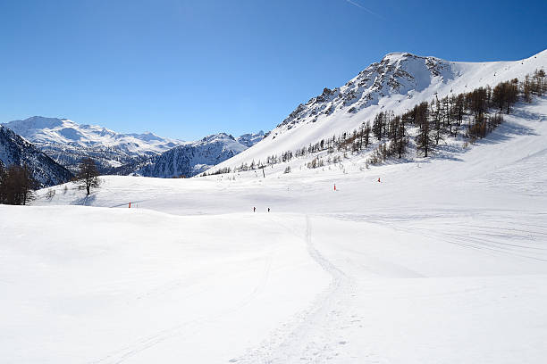 High mountain ski resort stock photo