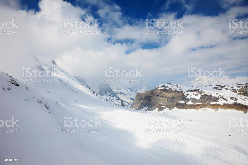 High mountain snow winter landscape Tignes ski resort in Alps Mountains France stock photo