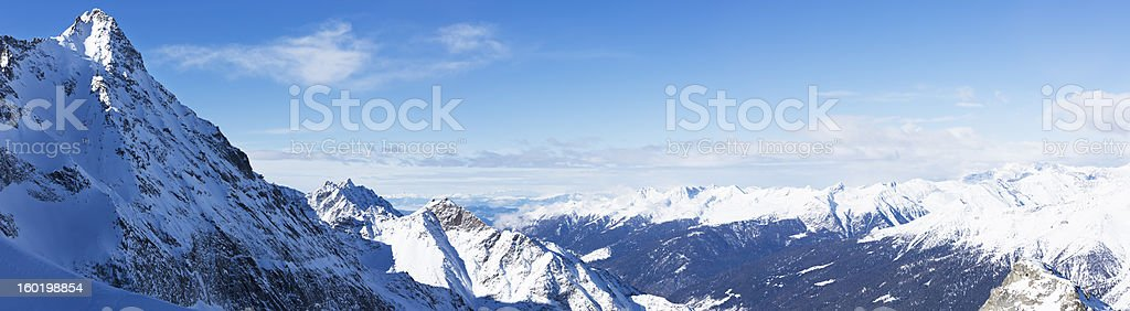 High mountain snowy  landscape - Panorama stock photo