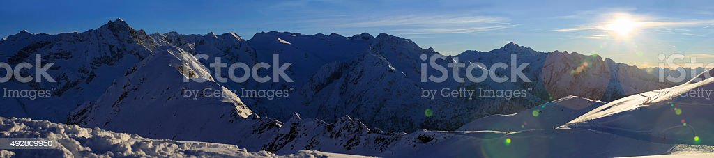 High mountain snowy  landscape  Sunset Panorama stock photo