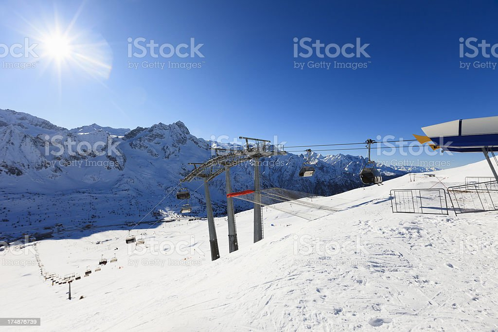 High mountain snowy  ski resort stock photo