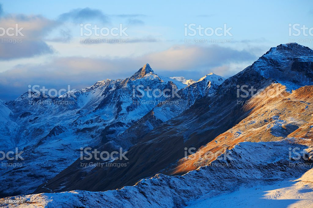 High mountain spring landscape Italian Alps stock photo