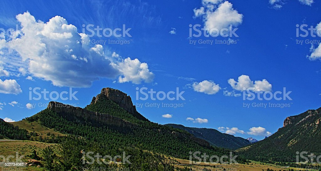 High mountain valley just below Dead Indian Pass - Clouds stock photo