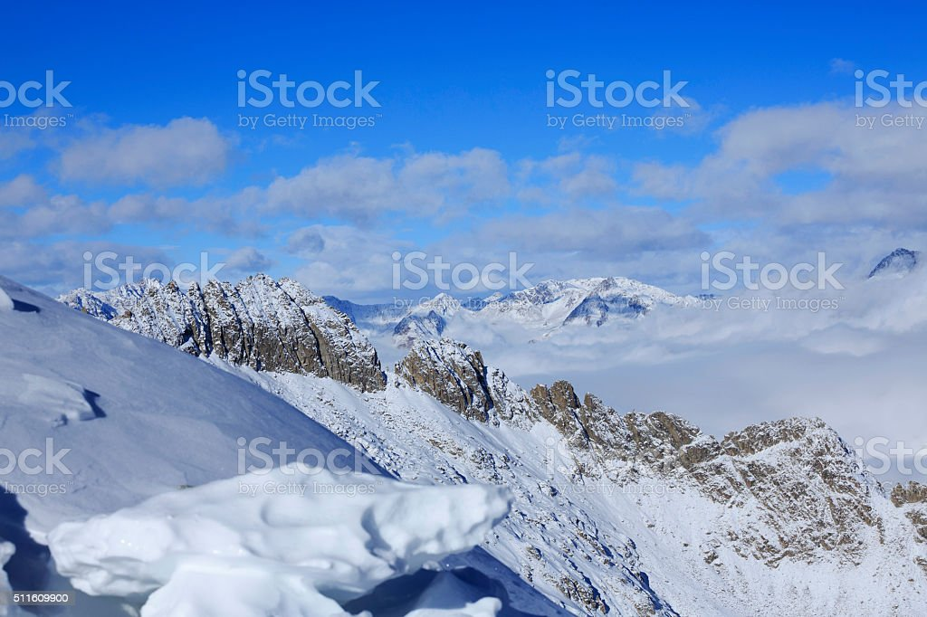 High mountain winter landscape Italian Alps stock photo