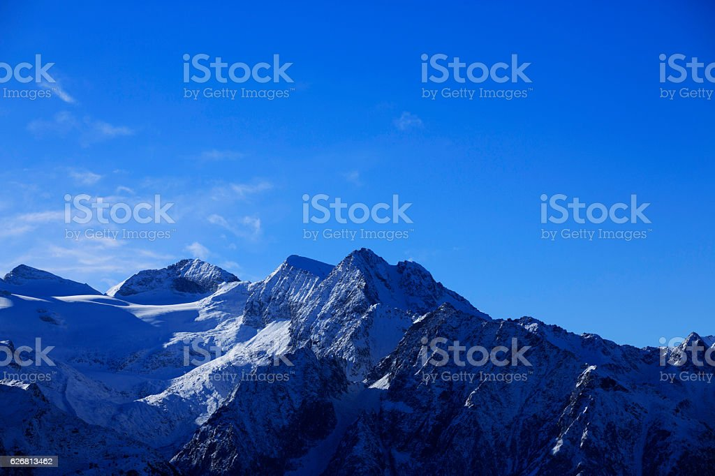High mountain winter landscape Italian Alps Snow ski resort stock photo