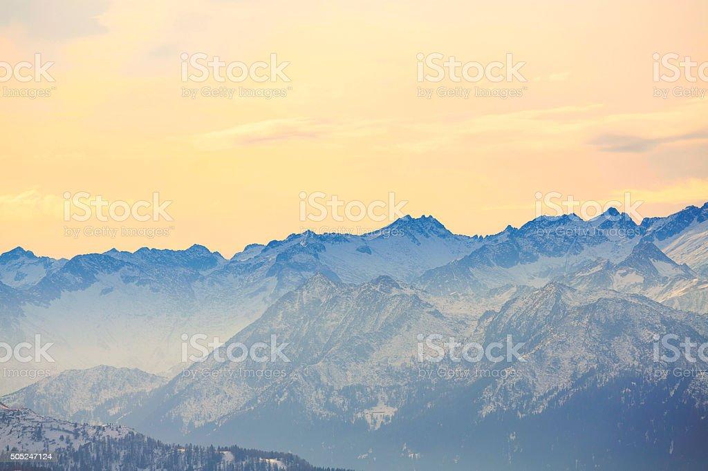 High mountain winter landscape sunset Italian Alps stock photo