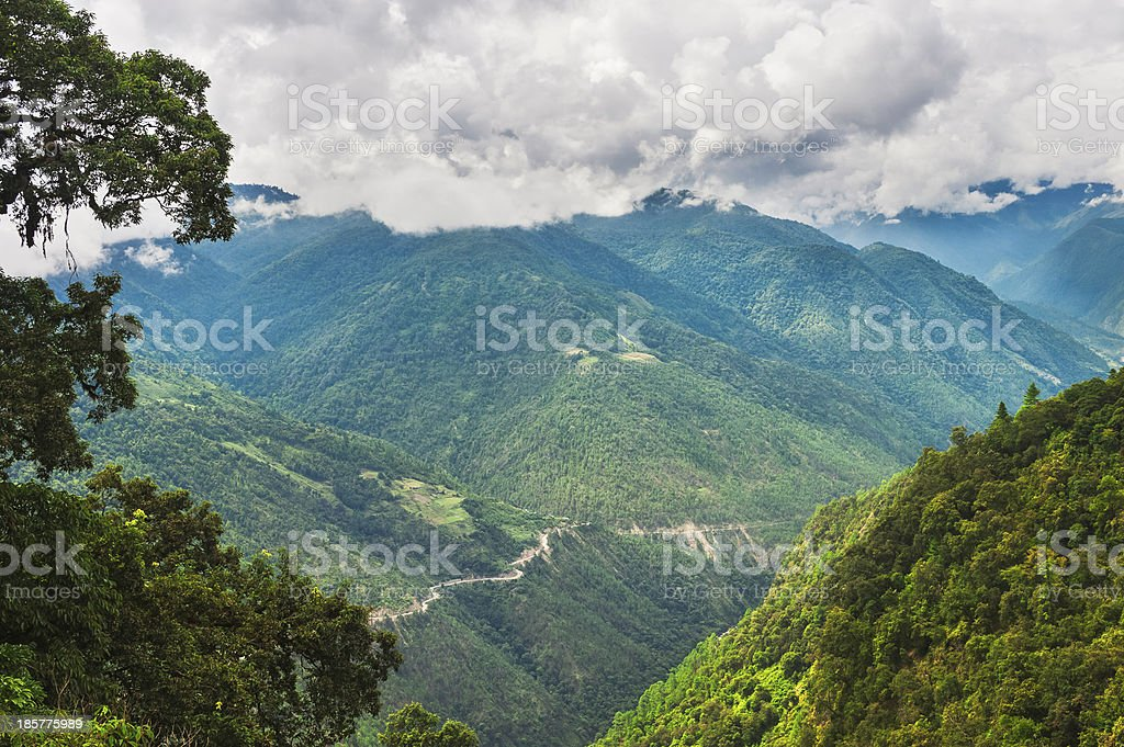 High mountains and main road to Tawang, Arunachal Pradesh, India. stock photo