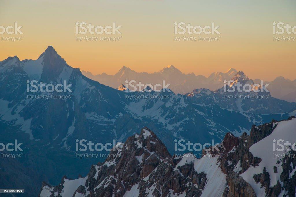 High Mountains at sunrise - Fann Mountains stock photo