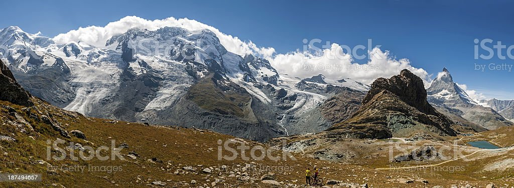 High mountains of Pennine Alps in Switzerland (panoramic) - X royalty-free stock photo