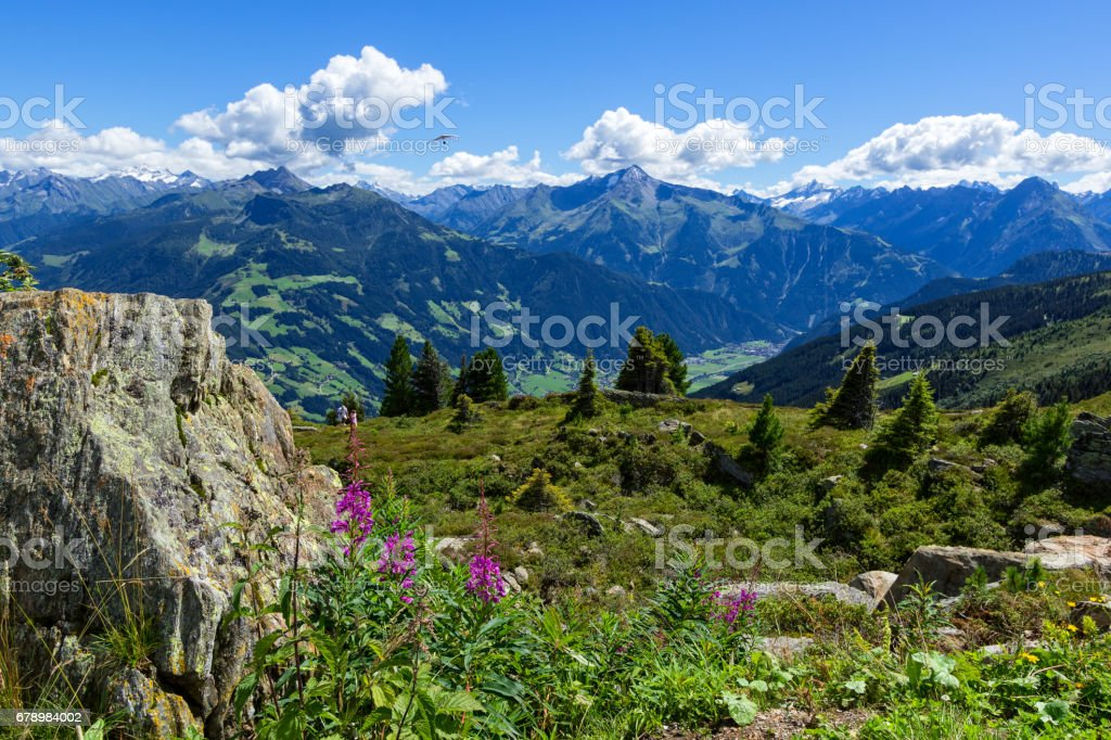 High mountains view with green meadow and stones in the foreground.  Zillertal High Alpine Road, Austria, Tirol, Zillertal royalty-free stock photo