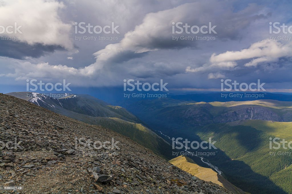 High mountains with the river in the crevice stock photo