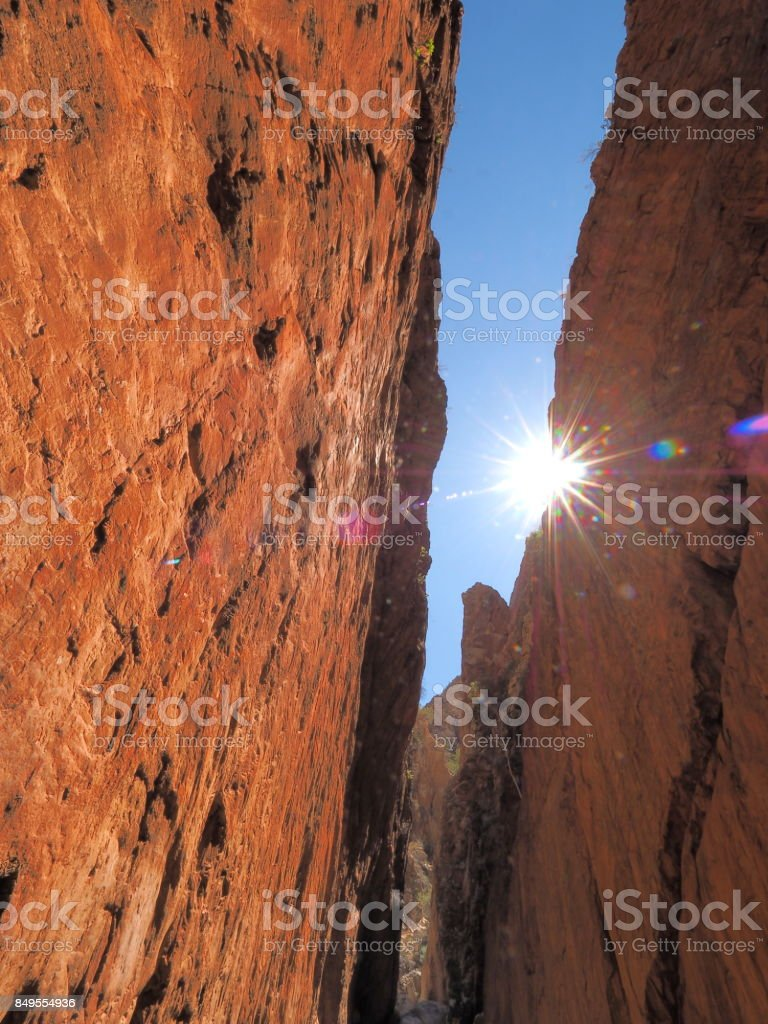 High noon view of Standley Chasm in the McDonnell Ranges stock photo