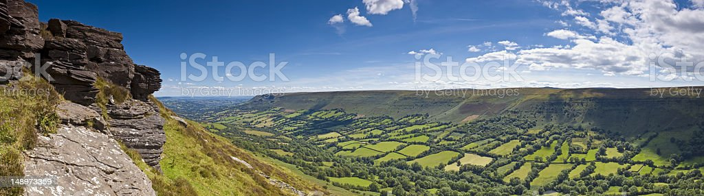 High over green valleys royalty-free stock photo