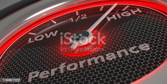 Performing high concept. Car gauge measure engine high performance close up. 3d illustration