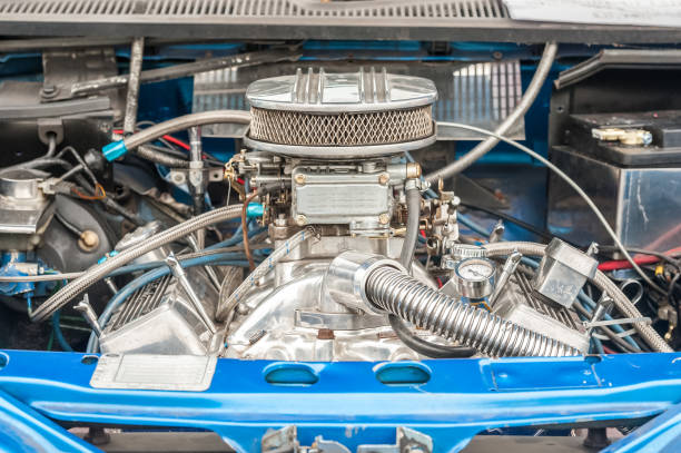 high performance engine bay engine bay of a high performance car carburetor stock pictures, royalty-free photos & images