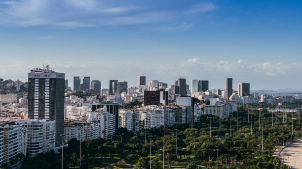 High perspective of Aterro do Flamengo and financial downtown district in Rio de Janeiro, Brazil stock photo