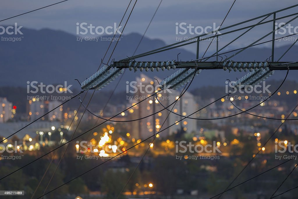 High power electricty grid powering the city stock photo