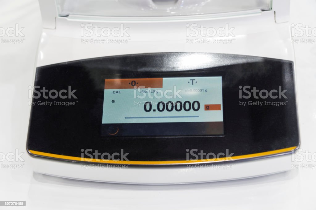 high precision weighing scale stock photo