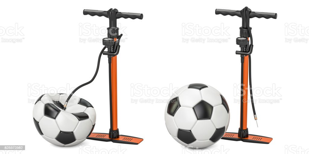 High pressure hand pumps with inflated and deflated soccer balls, 3D rendering stock photo