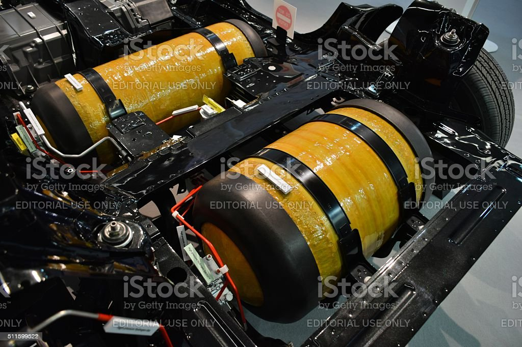 High pressure hydrogen tanks in the car chassis stock photo