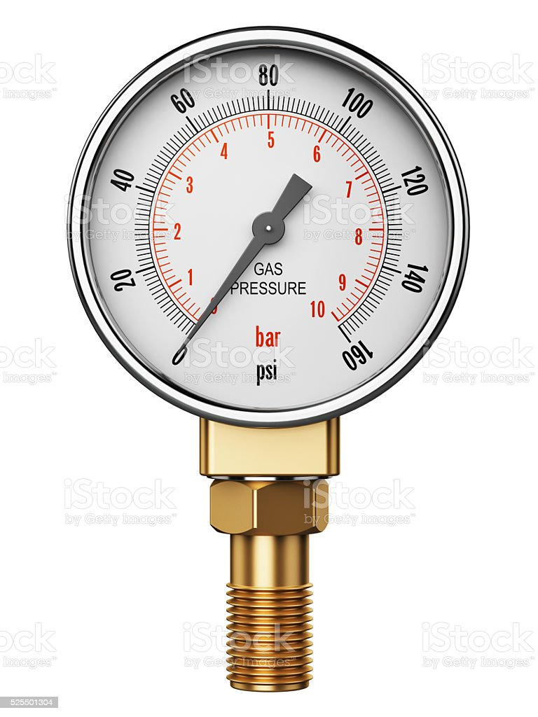 High pressure industrial gas gauge meter or manometer stock photo