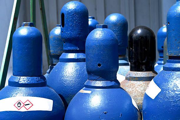 High pressure oxygen storage tanks stock photo