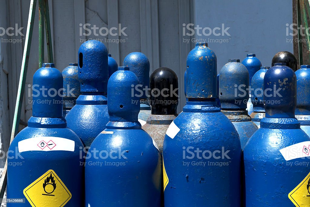 High pressure oxygen storage tanks stock photo
