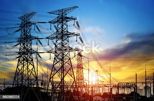 istock High pressure wire tower at sunset at dusk 950365224