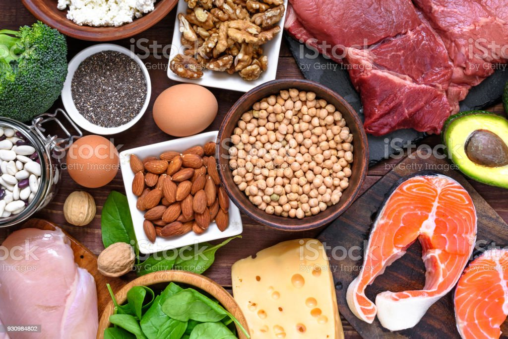 High protein food - fish, meat, poultry, nuts, eggs and vegetables. healthy eating and diet concept stock photo