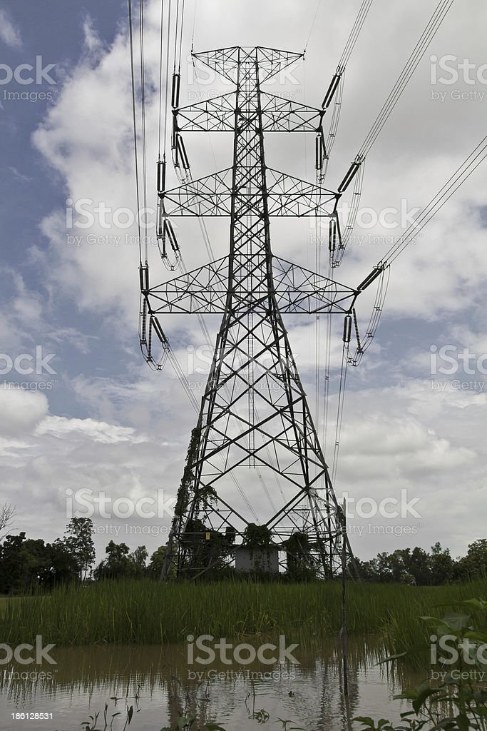 High pylons in  blue cloud royalty-free stock photo