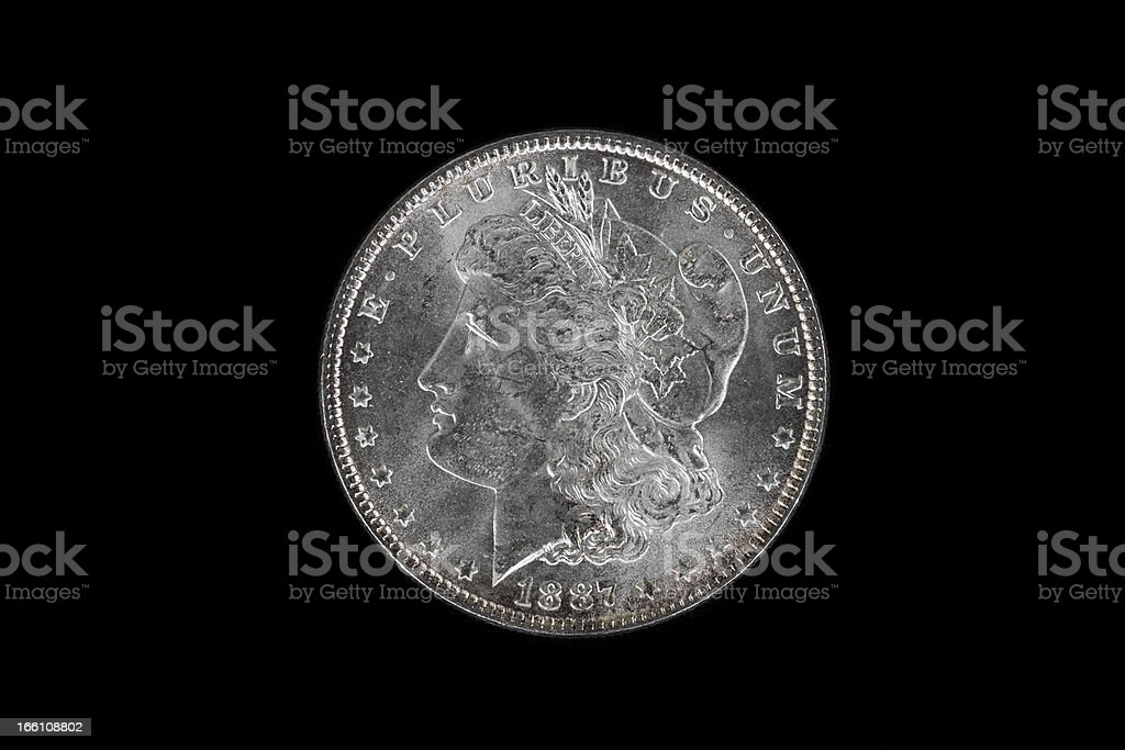 High Qaulity Silver Dollar on Black royalty-free stock photo