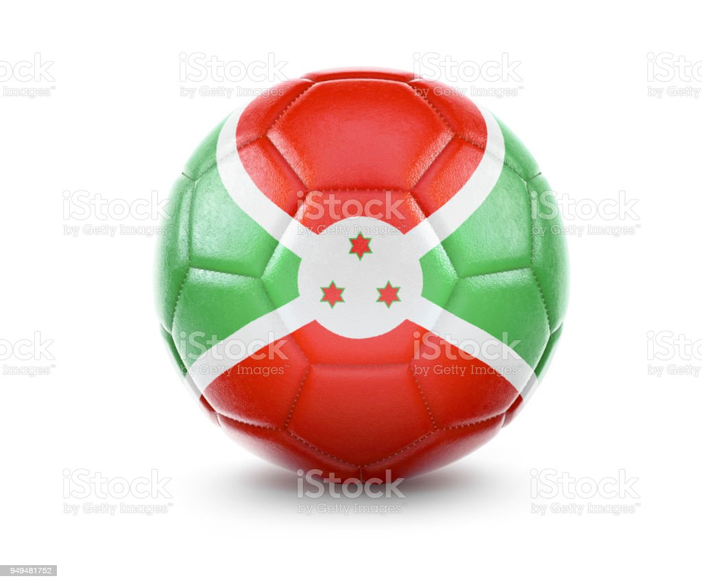High qualitiy soccer ball with the flag of Burundi rendering.(series) stock photo