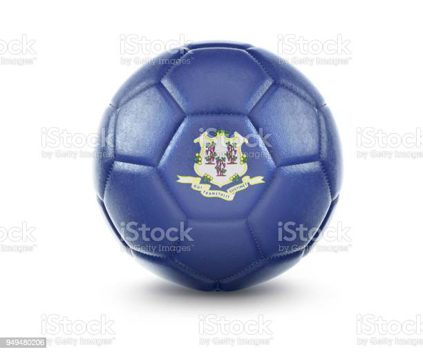 High qualitiy soccer ball with the flag of Connecticut rendering.(series)